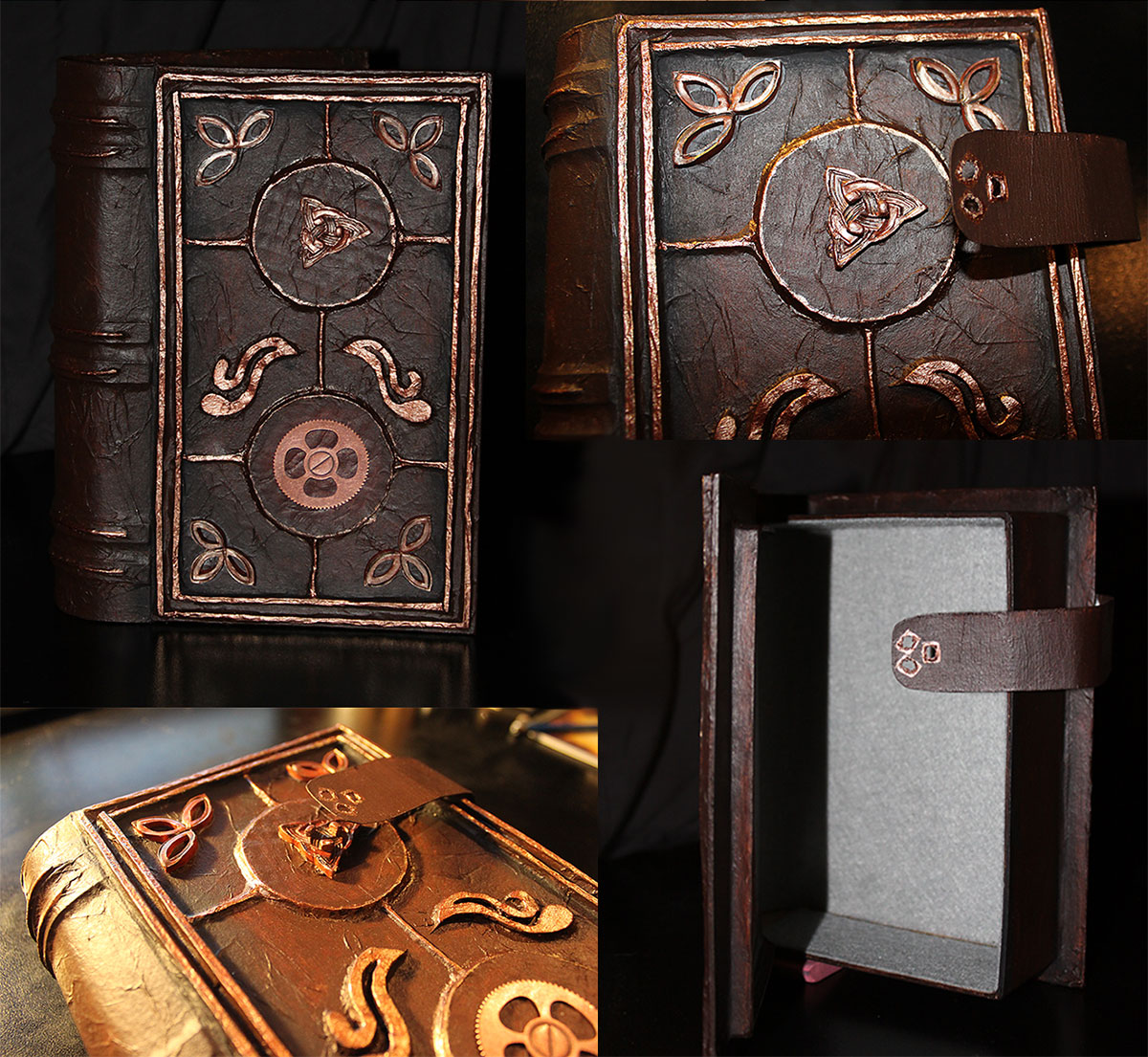 Secret Compartment Book Safes made from cardboard, felt, clay creations, charms, steampunk trinkets, and key and clock parts